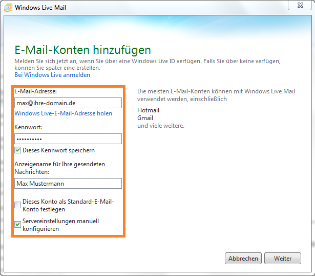 Neues Email Konto in Windows Live Mail einrichten