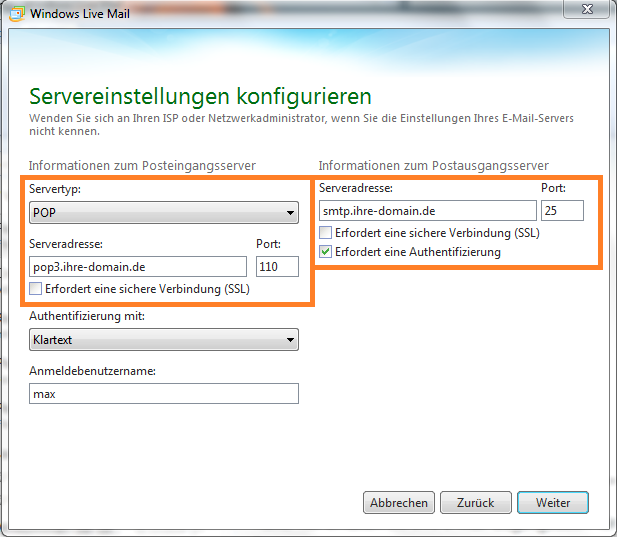 Servereinstellungen konfigurieren in Windows Live Mail