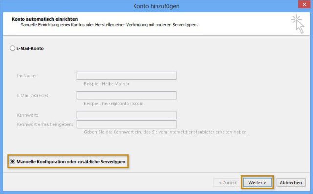 Konfiguration der Mailserver in Microsoft Outlook 2013