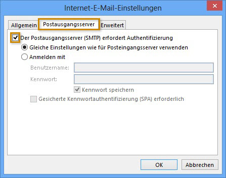 SMTP Einstellungen der Email Konten in Microsoft Outlook 2013