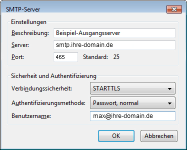 SMTP Einstellungen in Thunderbird konfigurieren