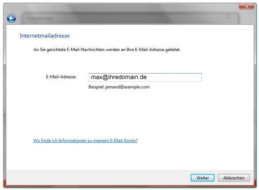 Email Adresse in Windows Mail eintragen