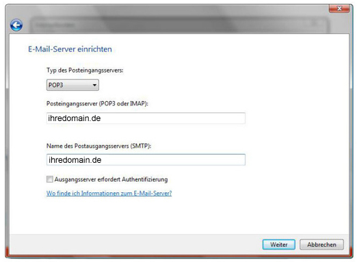 Email Server einrichten in Windows Mail